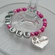 Big Sister Personalised Wine Glass Charm - Full Bead Style